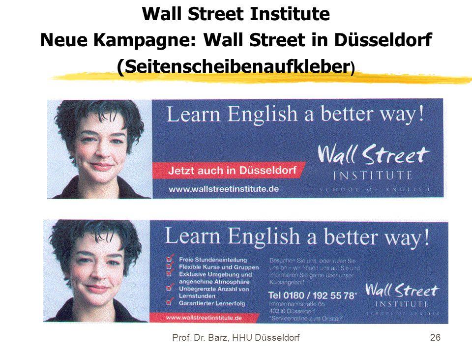 Neue Kampagne: Wall Street in Düsseldorf (Seitenscheibenaufkleber)