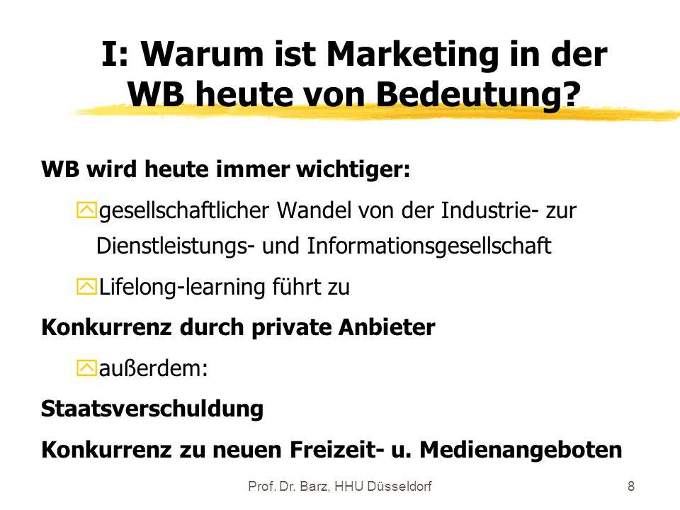 I: Warum ist Marketing in der WB heute von Bedeutung