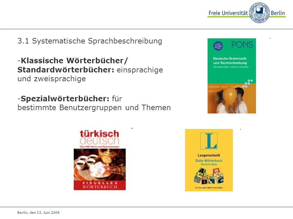 3.1 Systematische Sprachbeschreibung