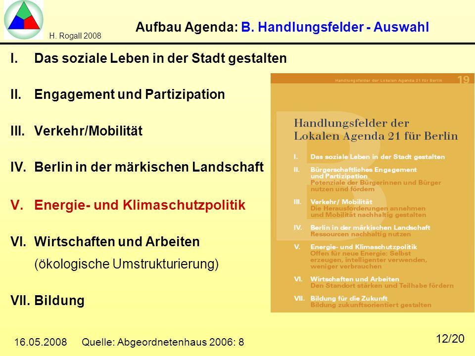 Aufbau Agenda: B. Handlungsfelder - Auswahl