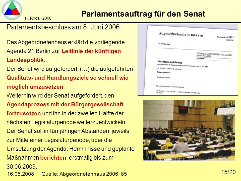 Parlamentsauftrag für den Senat