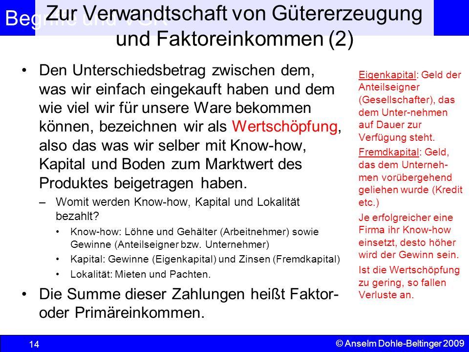 Zur Verwandtschaft von Gütererzeugung und Faktoreinkommen (2)