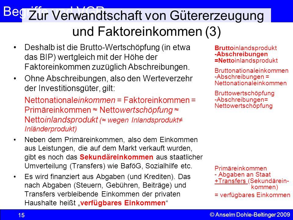 Zur Verwandtschaft von Gütererzeugung und Faktoreinkommen (3)