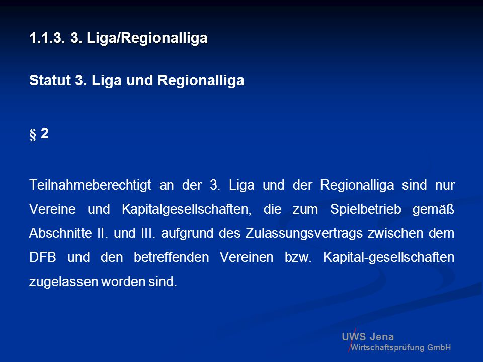 Statut 3. Liga und Regionalliga
