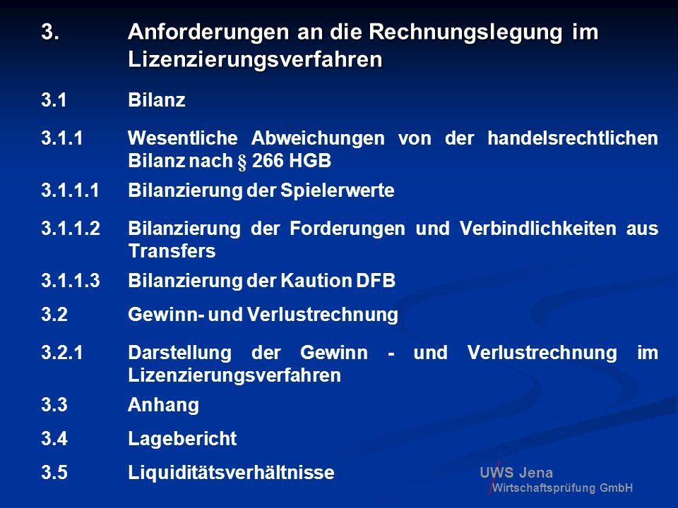 3. Anforderungen an die Rechnungslegung im Lizenzierungsverfahren