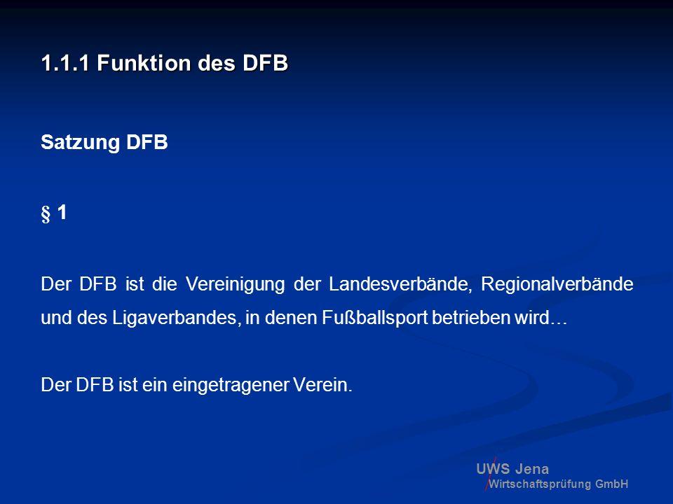 1.1.1 Funktion des DFB Satzung DFB § 1