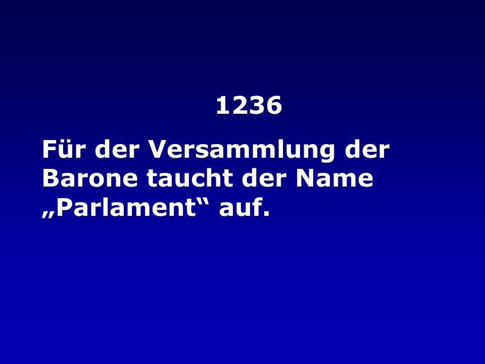 """1236 Für der Versammlung der Barone taucht der Name """"Parlament auf."""