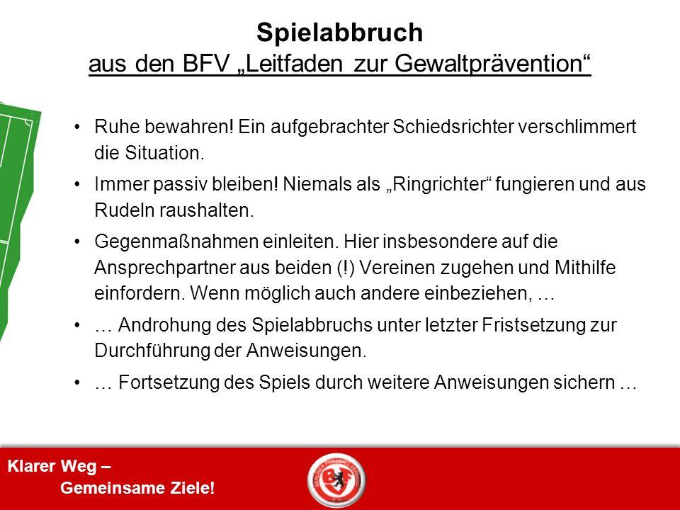 """Spielabbruch aus den BFV """"Leitfaden zur Gewaltprävention"""