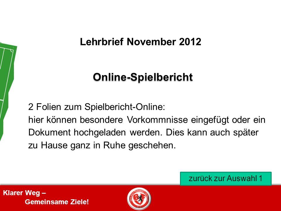 Online-Spielbericht Lehrbrief November 2012