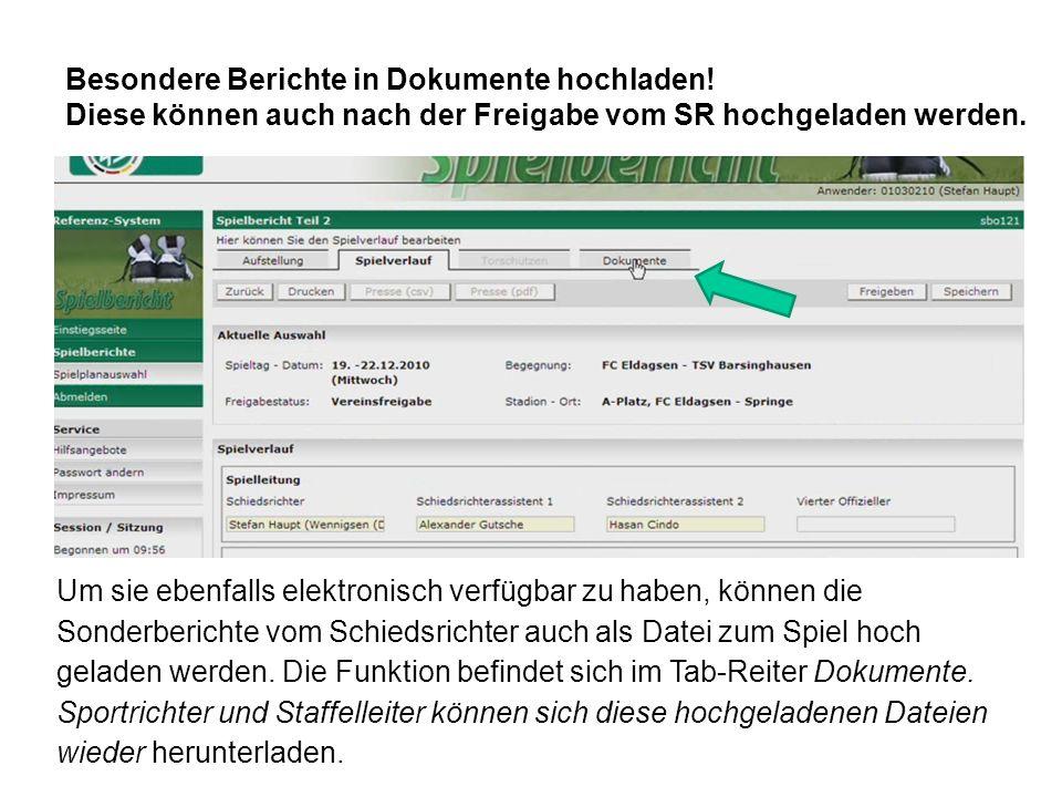 Besondere Berichte in Dokumente hochladen!