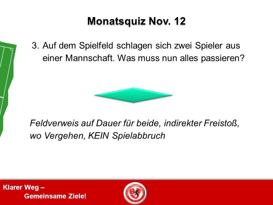 Monatsquiz Nov. 12 3. Auf dem Spielfeld schlagen sich zwei Spieler aus einer Mannschaft. Was muss nun alles passieren