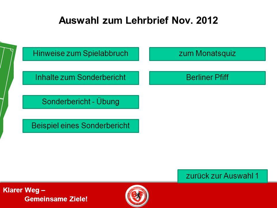 Auswahl zum Lehrbrief Nov. 2012