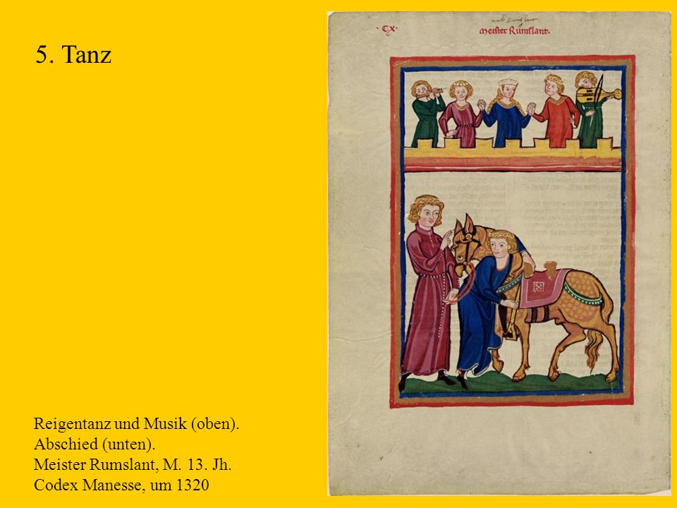 5. Tanz Reigentanz und Musik (oben). Abschied (unten).