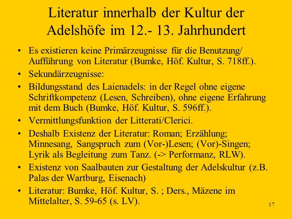 Literatur innerhalb der Kultur der Adelshöfe im 12.- 13. Jahrhundert