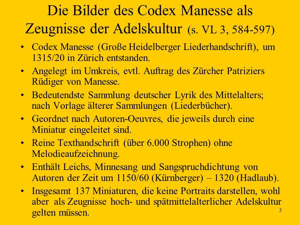 Die Bilder des Codex Manesse als Zeugnisse der Adelskultur (s