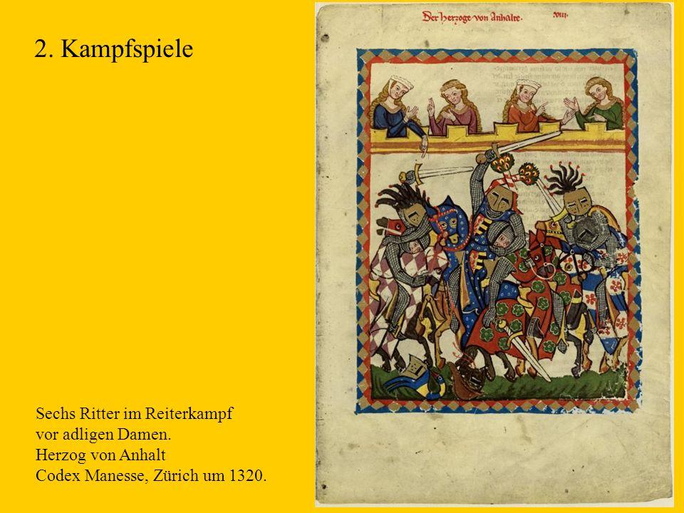 2. Kampfspiele Sechs Ritter im Reiterkampf vor adligen Damen.