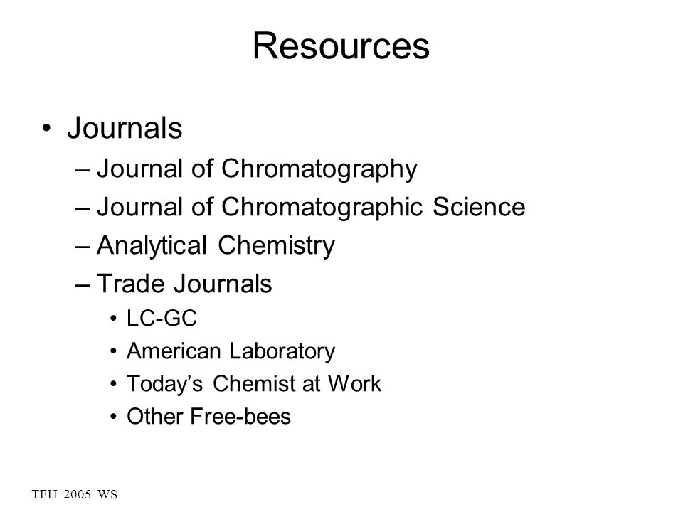 Resources Journals Journal of Chromatography