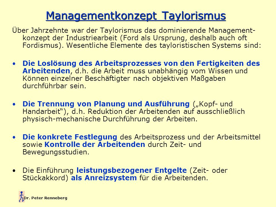 Managementkonzept Taylorismus