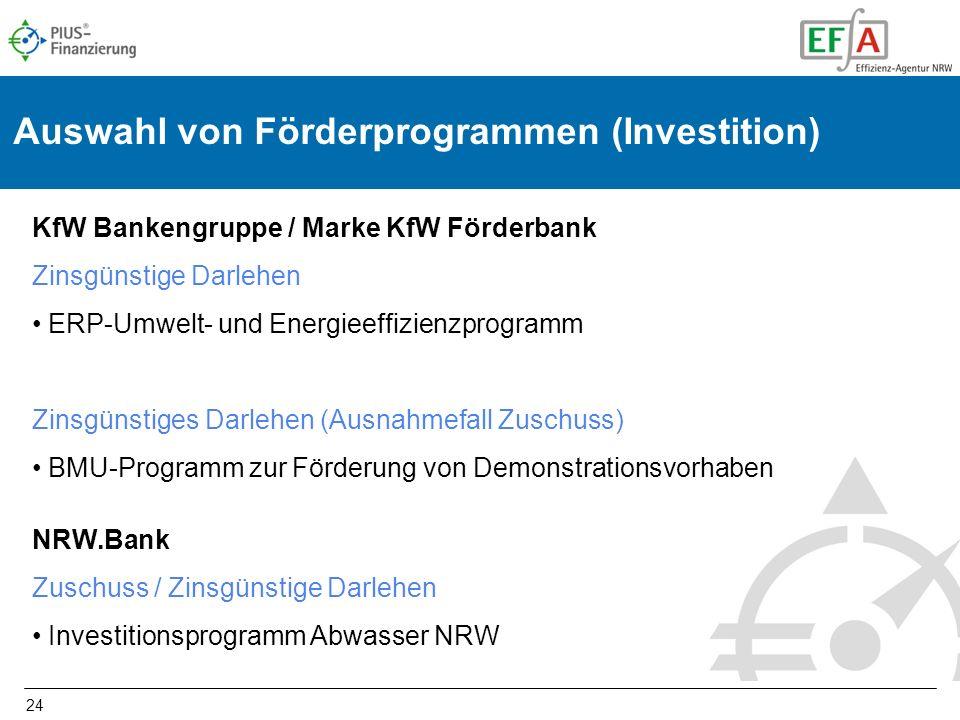 Auswahl von Förderprogrammen (Investition)