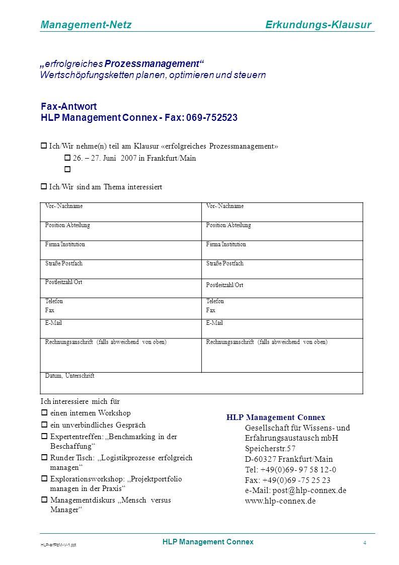 Fax-Antwort HLP Management Connex - Fax: 069-752523 Vor-/Nachname
