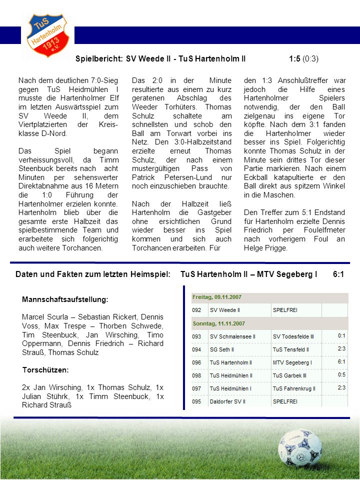 Spielbericht: SV Weede II - TuS Hartenholm II 1:5 (0:3)