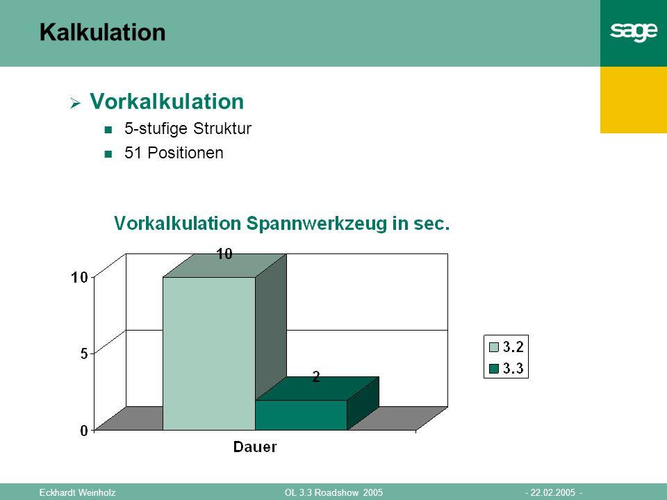 Kalkulation Vorkalkulation 5-stufige Struktur 51 Positionen