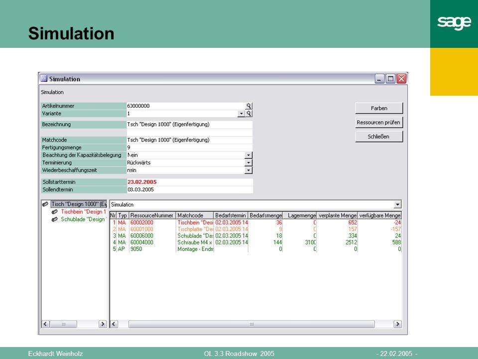Simulation Simulationsparameter Artikel Menge Termin Baumstruktur
