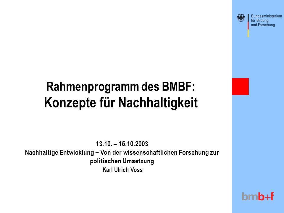 Rahmenprogramm des BMBF: Konzepte für Nachhaltigkeit