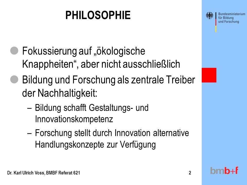 """PHILOSOPHIEFokussierung auf """"ökologische Knappheiten , aber nicht ausschließlich. Bildung und Forschung als zentrale Treiber der Nachhaltigkeit:"""