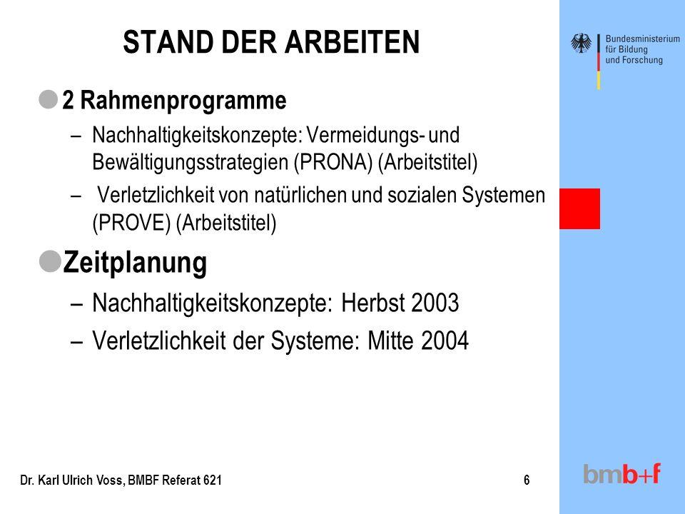 STAND DER ARBEITEN Zeitplanung 2 Rahmenprogramme