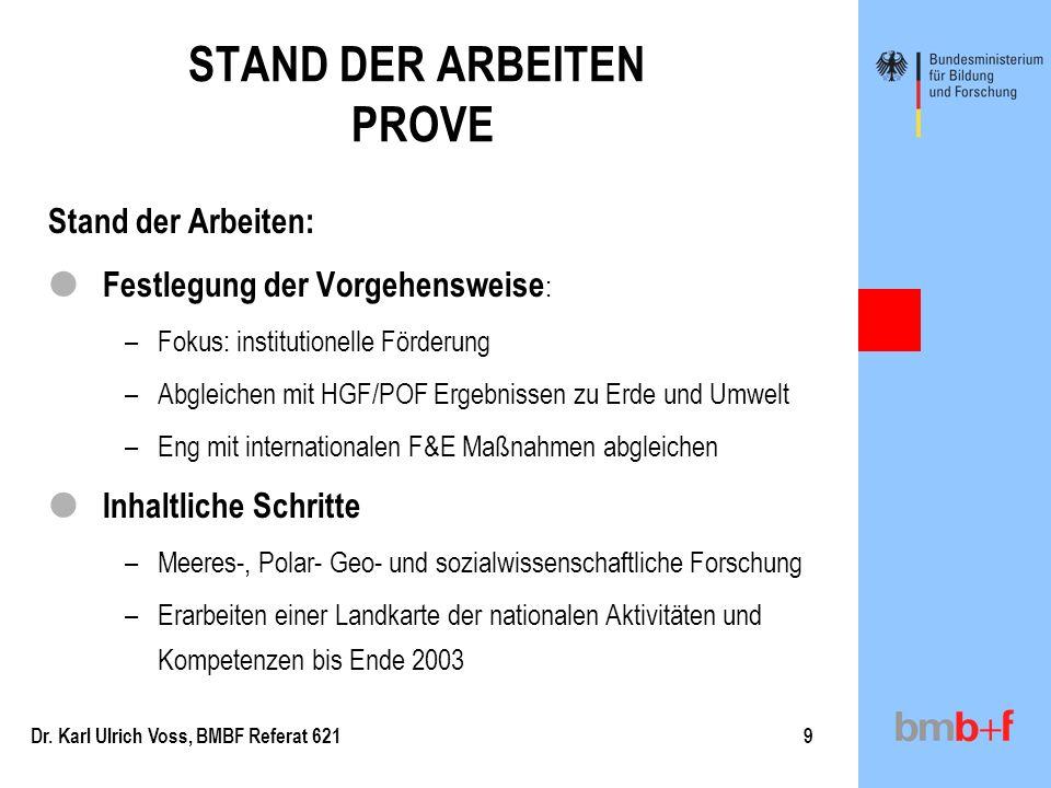 STAND DER ARBEITEN PROVE
