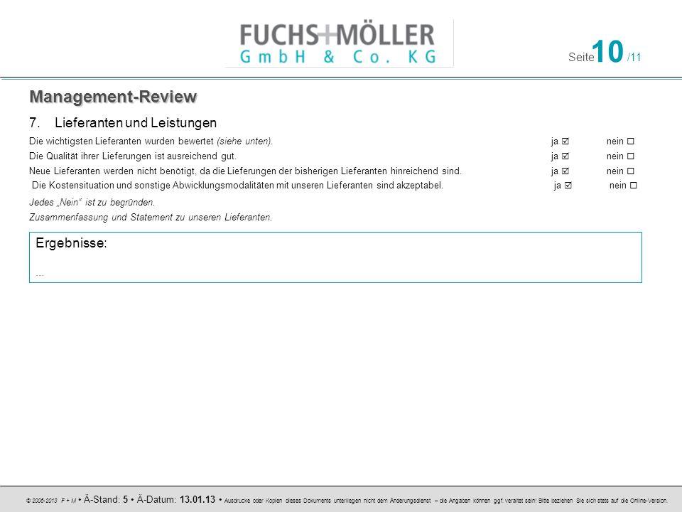 Management-Review Lieferanten und Leistungen Ergebnisse: