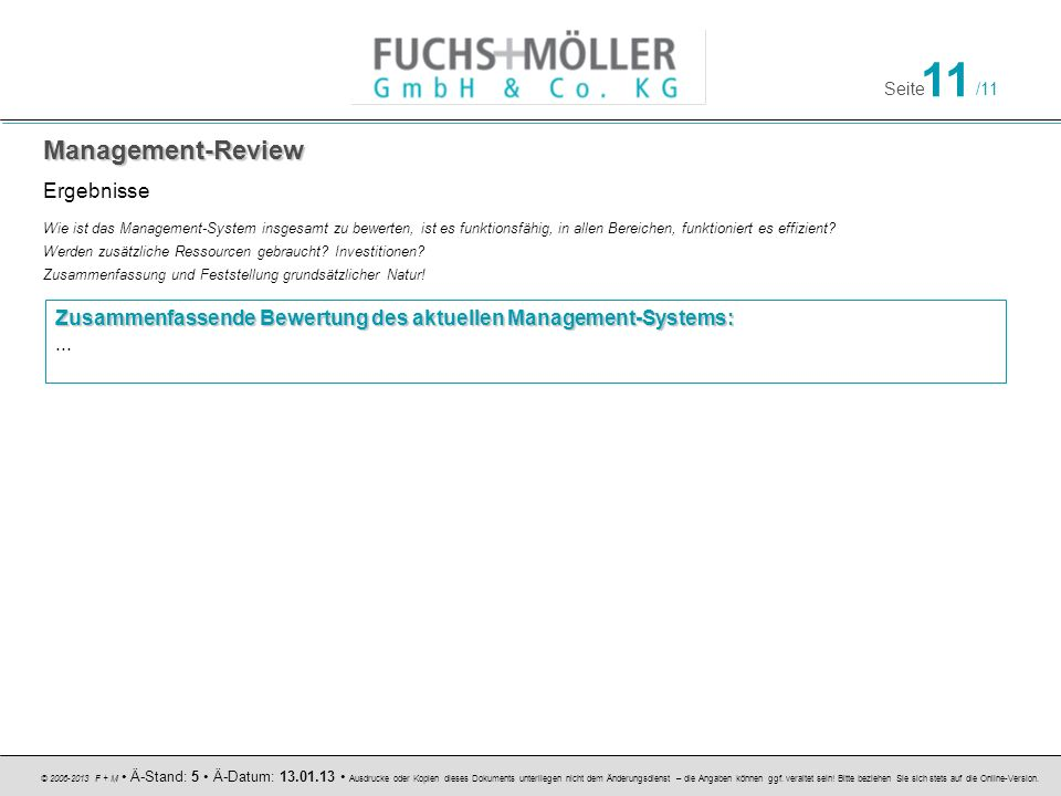 Management-Review Ergebnisse