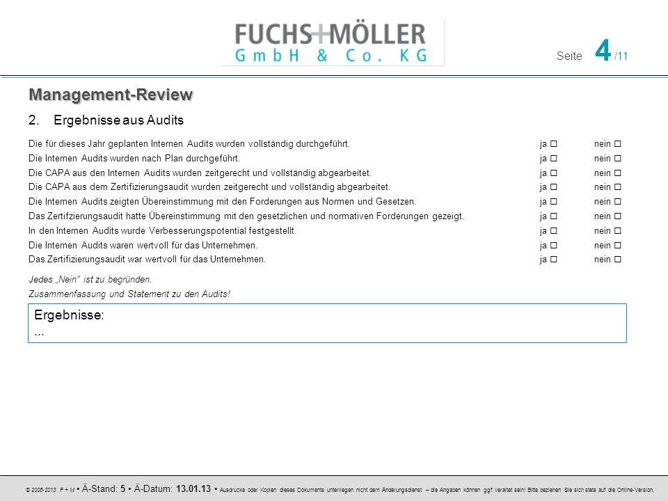 Management-Review Ergebnisse aus Audits Ergebnisse: ...