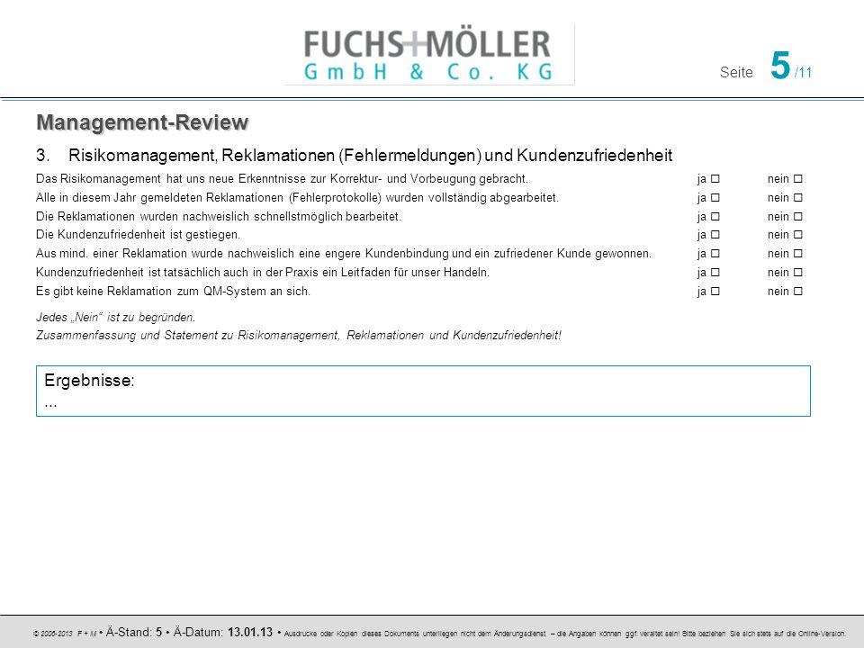 Management-Review Risikomanagement, Reklamationen (Fehlermeldungen) und Kundenzufriedenheit.