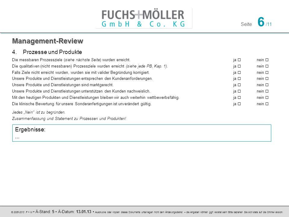 Management-Review Prozesse und Produkte Ergebnisse: ...