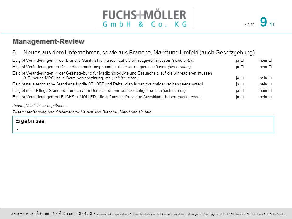 Management-Review Neues aus dem Unternehmen, sowie aus Branche, Markt und Umfeld (auch Gesetzgebung)