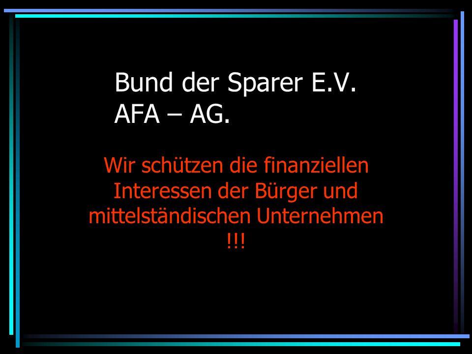 Bund der Sparer E.V. AFA – AG.