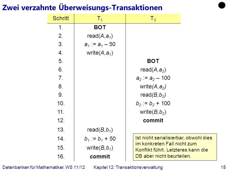 Zwei verzahnte Überweisungs-Transaktionen