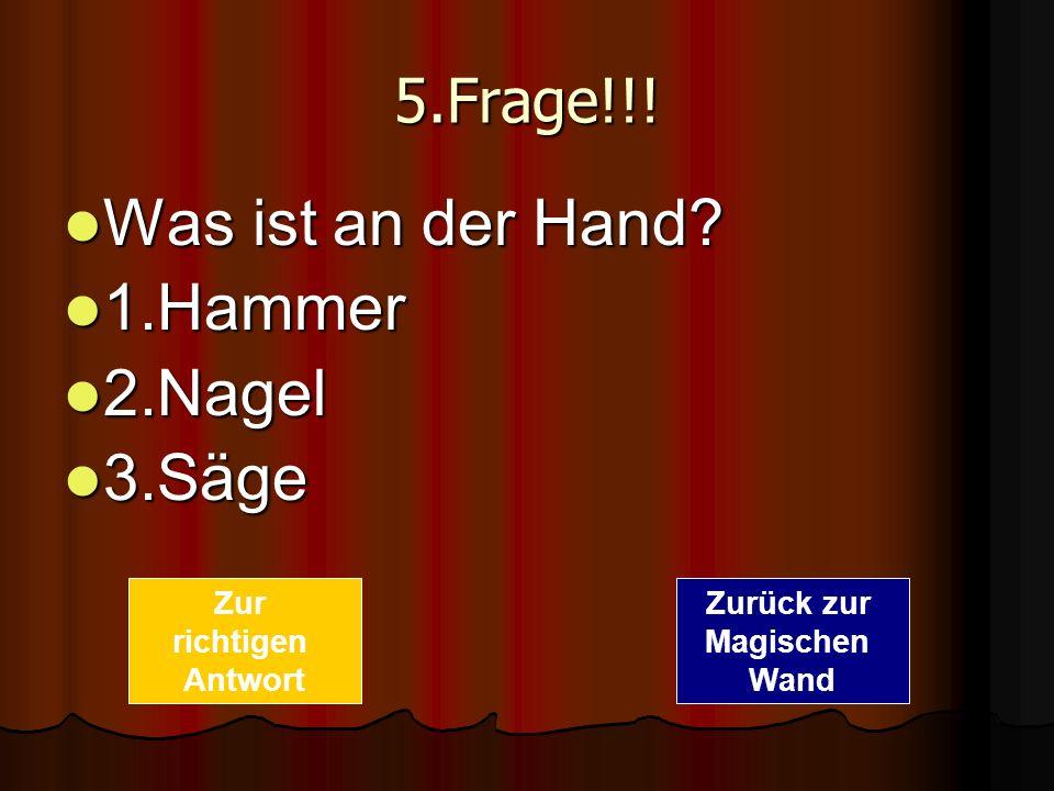 Was ist an der Hand 1.Hammer 2.Nagel 3.Säge 5.Frage!!! Zur richtigen