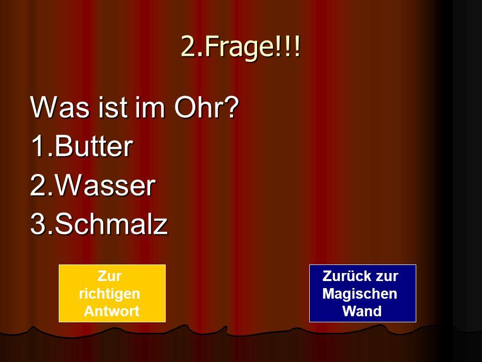 Was ist im Ohr 1.Butter 2.Wasser 3.Schmalz 2.Frage!!! Zur richtigen