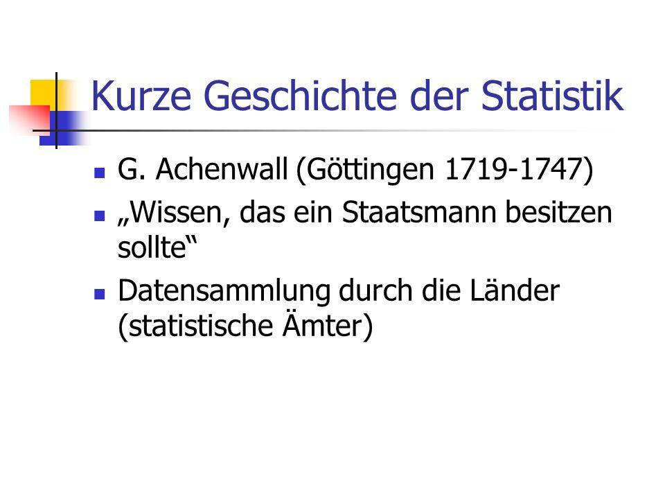 Kurze Geschichte der Statistik