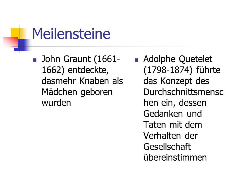 Meilensteine John Graunt (1661-1662) entdeckte, dasmehr Knaben als Mädchen geboren wurden.