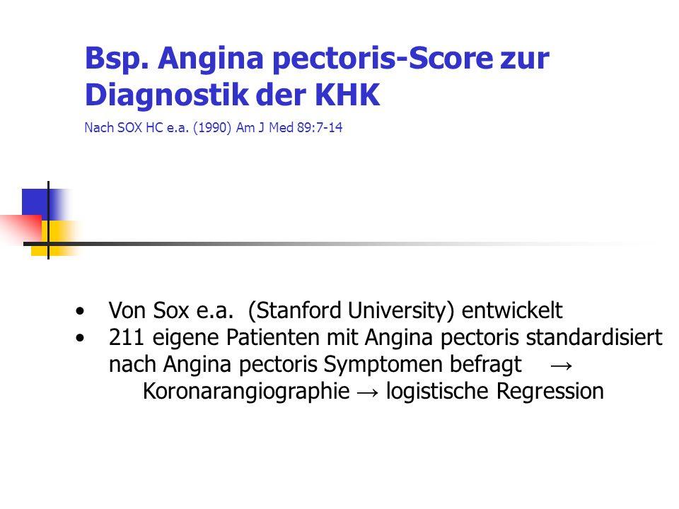 Bsp. Angina pectoris-Score zur Diagnostik der KHK