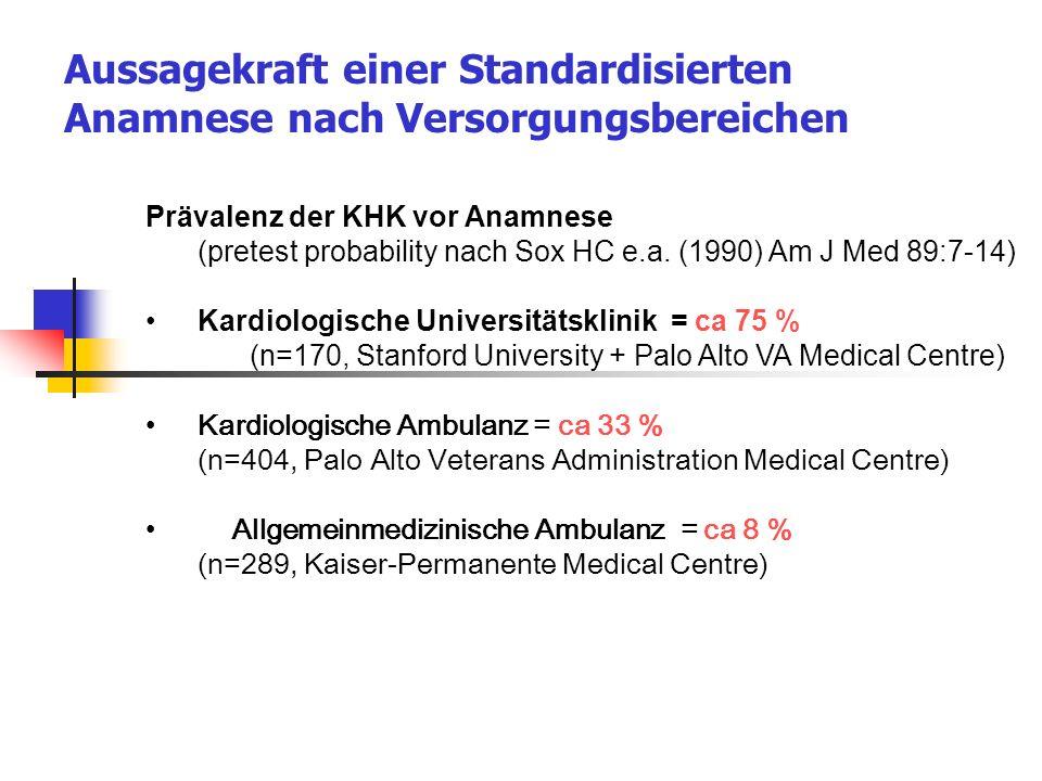 Aussagekraft einer Standardisierten Anamnese nach Versorgungsbereichen