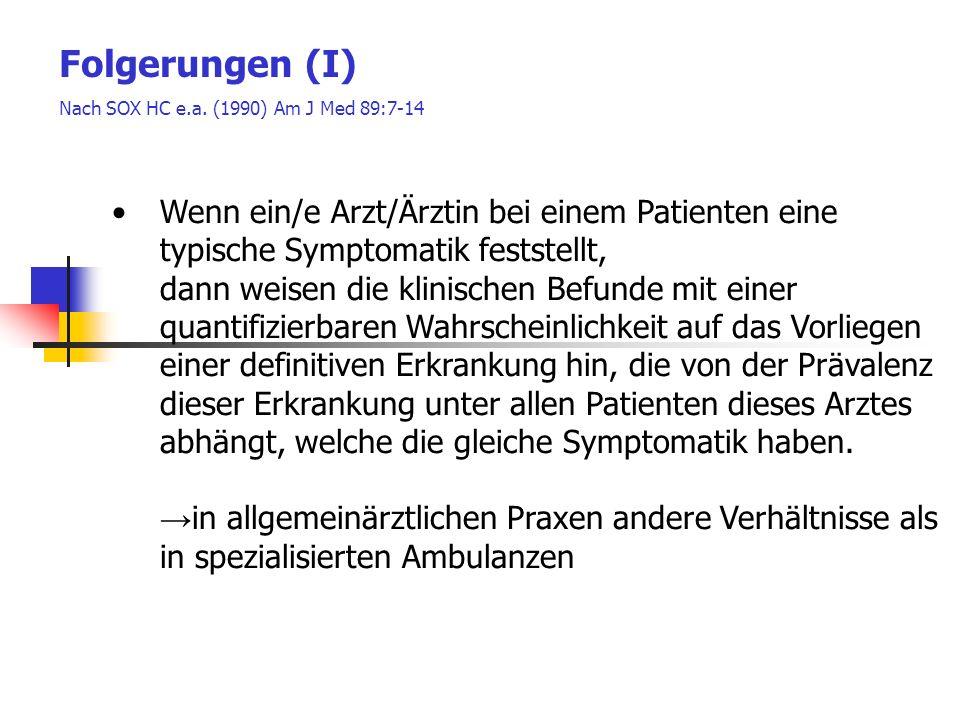 Folgerungen (I) Nach SOX HC e.a. (1990) Am J Med 89:7-14. Wenn ein/e Arzt/Ärztin bei einem Patienten eine typische Symptomatik feststellt,