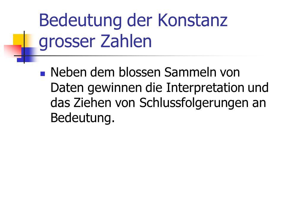 Bedeutung der Konstanz grosser Zahlen