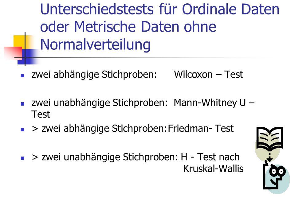 Unterschiedstests für Ordinale Daten oder Metrische Daten ohne Normalverteilung
