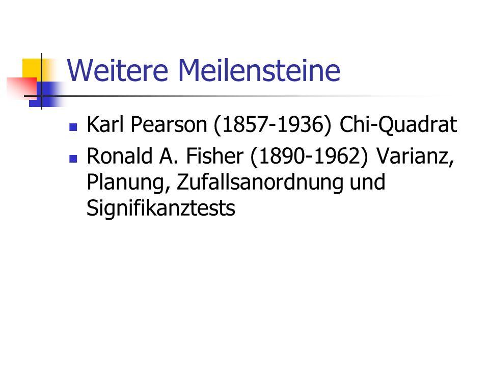 Weitere Meilensteine Karl Pearson (1857-1936) Chi-Quadrat