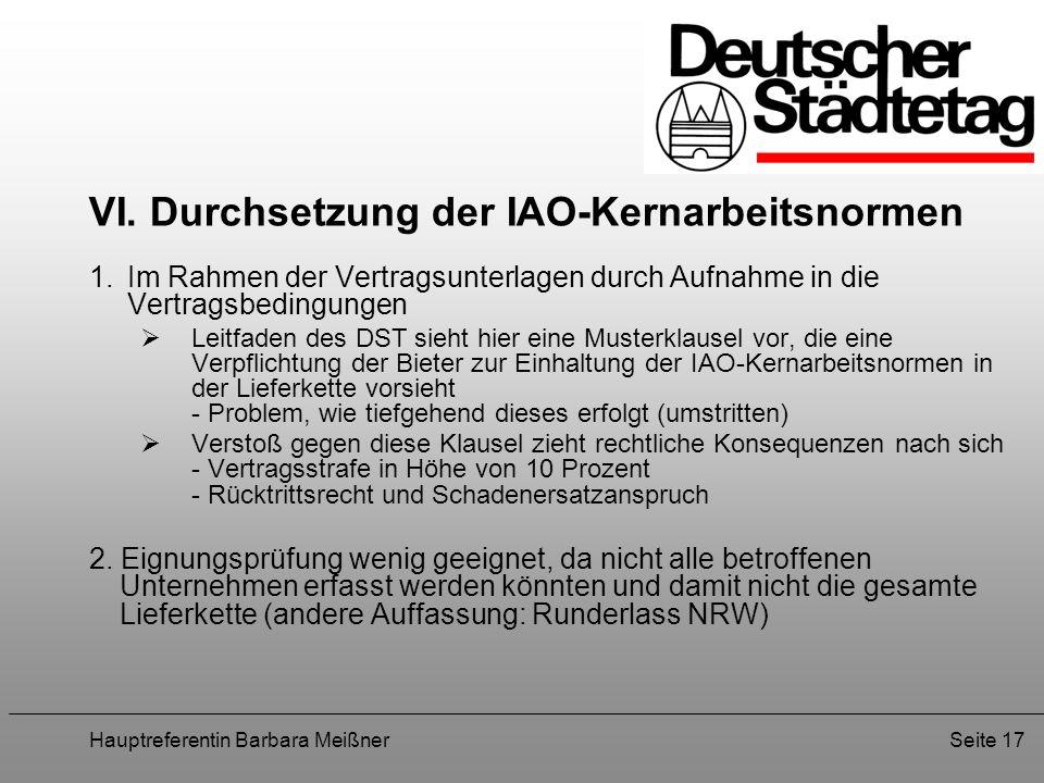 VI. Durchsetzung der IAO-Kernarbeitsnormen